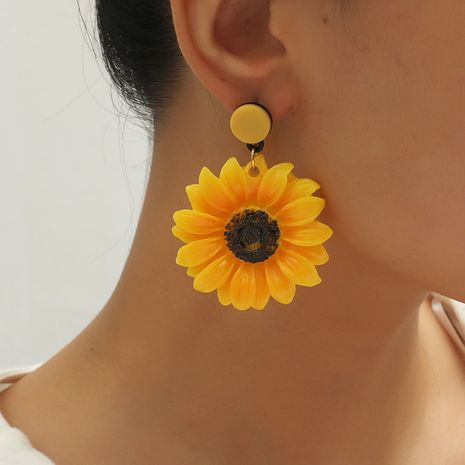 Korean fashion retro fairy sunflower wild exaggerated flower earrings for women NHKQ252741's discount tags