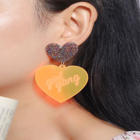Fashion trend simple transparent acrylic exaggerated Korean printed letters  heart earrings NHKQ252738's discount tags