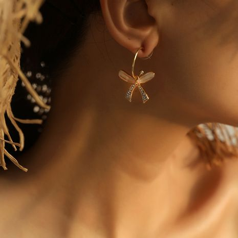Korea hot-selling all-match fashion niche butterfly alloy earrings NHKQ252745's discount tags