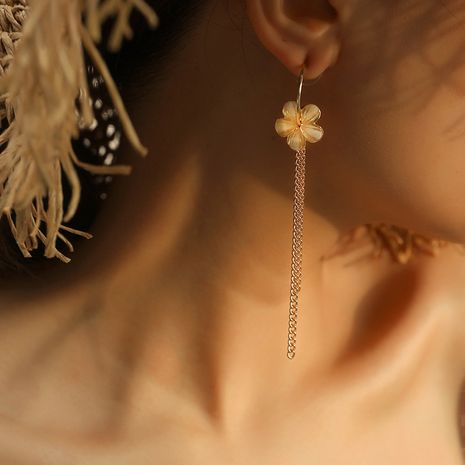 Korean fashion new tassel simple  beautiful long flower alloy earrings wholesale NHKQ252747's discount tags