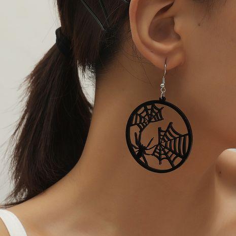 Boucles d'oreilles en toile d'araignée ronde creuse en résine exagérée à la mode rétro NHKQ252752's discount tags