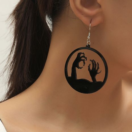 Trend New Halloween Exaggerated Round Hollow Dark Wind Grave Paw Earrings NHKQ252753's discount tags