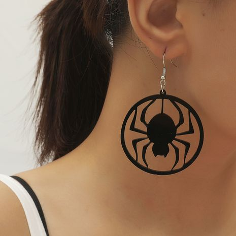 minimalist style retro wild geometric round fashionable dark hollow acrylic spider earrings NHKQ252754's discount tags