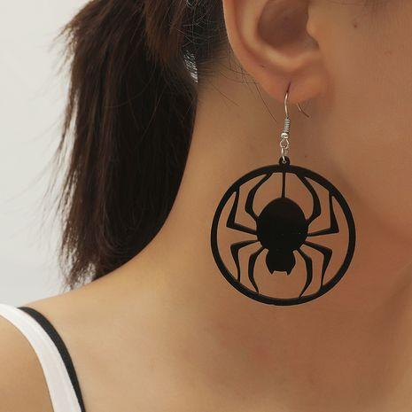 style minimaliste rétro sauvage géométrique rond à la mode boucles d'oreilles araignée acrylique creuse sombre NHKQ252754's discount tags