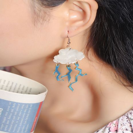 Fashion exaggerated face thin Korean all-match acrylic long cloud lightning earrings NHKQ252757's discount tags