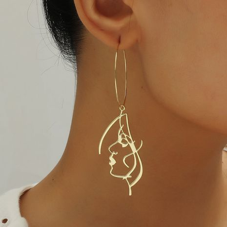 Korean fashion simple exaggerated aesthetic art abstract curve face contour earrings NHKQ252759's discount tags
