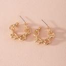 Fashion new exaggerated geometric ring interlocking alloy earrings wholesale NHAI252764