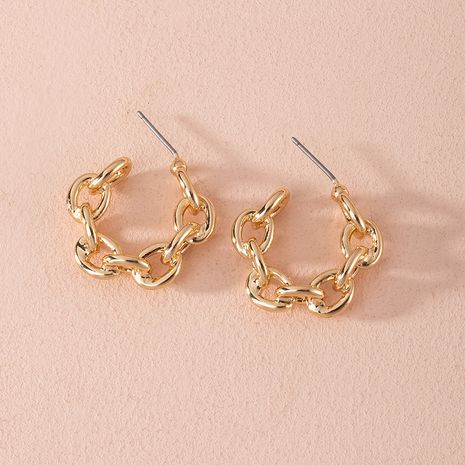 Fashion new exaggerated geometric ring interlocking alloy earrings wholesale NHAI252764's discount tags