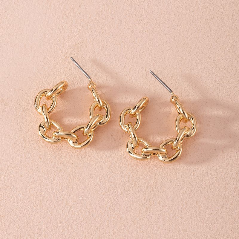 Fashion new exaggerated geometric ring interlocking alloy earrings wholesale NHAI252764