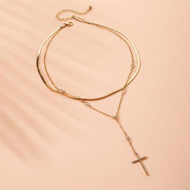Fashion Simple Necklace  Retro Cross Pendant Double womens Clavicle necklace NHAI252768