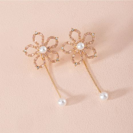 Korea natural pearl new retro diamond alloy earrings for womenwholesale NHAI252770's discount tags