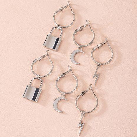 Coréen nouvelle simple serrure lune éclair hipster cercle boucles d'oreilles simples pour les femmes en gros NHAI252771's discount tags