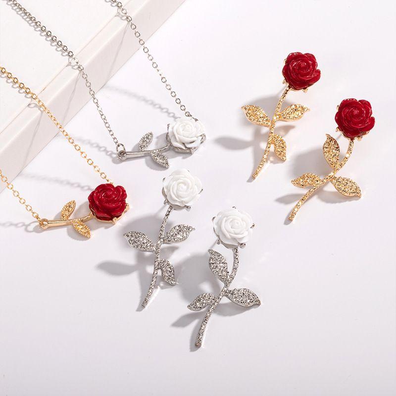 New fashion rose long earrings necklace set wholesale NHAI252774
