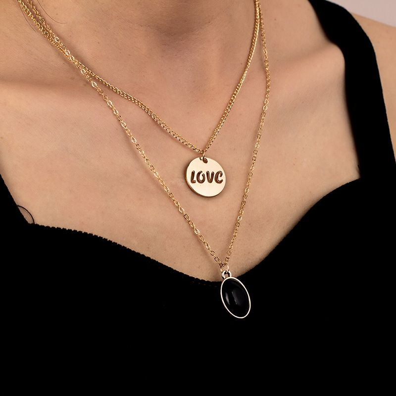 paragraph LOVE personality multi-layer necklace new letter layered women's necklace  NHRN252781