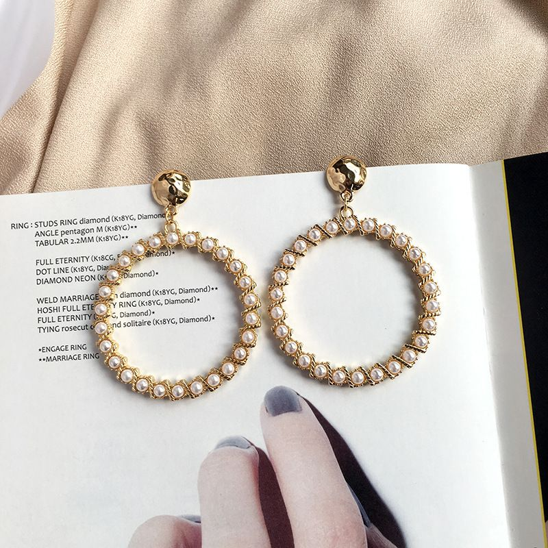 Korea new fashion exaggerated big circle rice bead pearl earrings wholesale NHAI252784