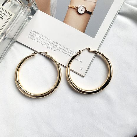 new simple big hoop thick circle earrings wholesale NHAI252785's discount tags