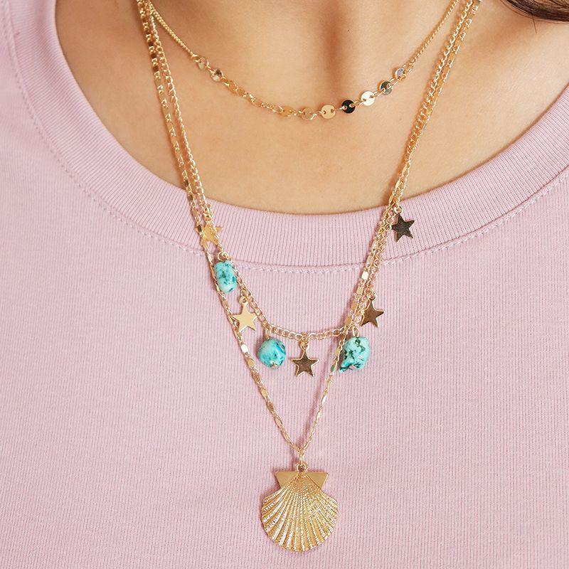 Hot Selling Three-layer Shell Stone women's Necklace NHGU252791