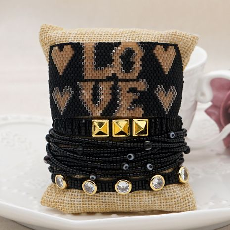 hot-selling exaggerated fashion Miyuki rice bead woven multi-layer beaded tassel letter bracelet NHGW252813's discount tags