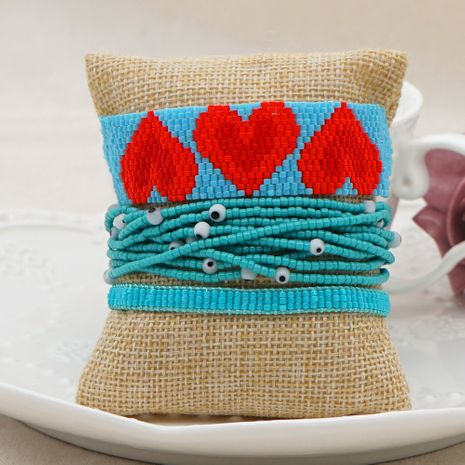 Bohemian ethnic style rice bead woven multi-layered love beaded bracelet jewelry NHGW252814's discount tags