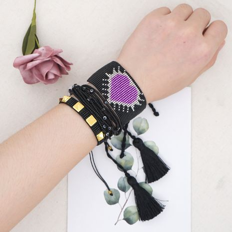 punk style rivet multi-layer beaded braided rice bead love-shaped bracelet suit NHGW252815's discount tags