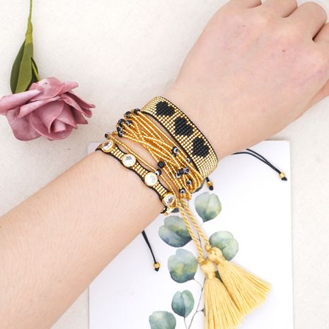 new fashion trend multi-layered hand-beaded rice beads woven love women's bracelet NHGW252821's discount tags