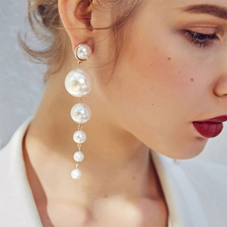 boucles d'oreilles longues perles simples multi-tailles en gros nihaojewerly NHPF252846's discount tags