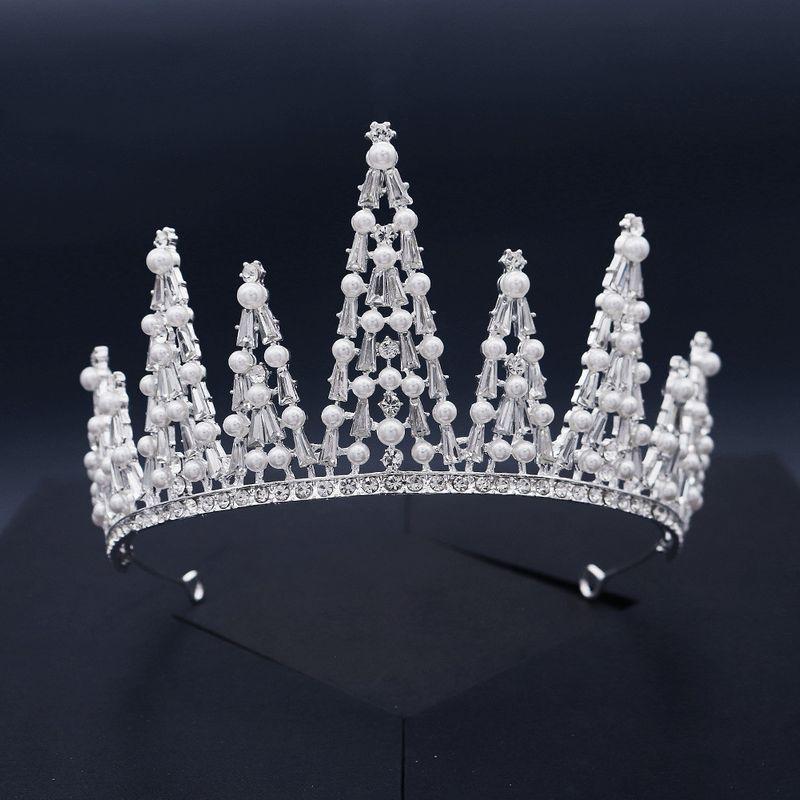 bridal jewelry Baroque style  Crown Pearl Rhinestone Semicircle Party Headband  NHHS252859