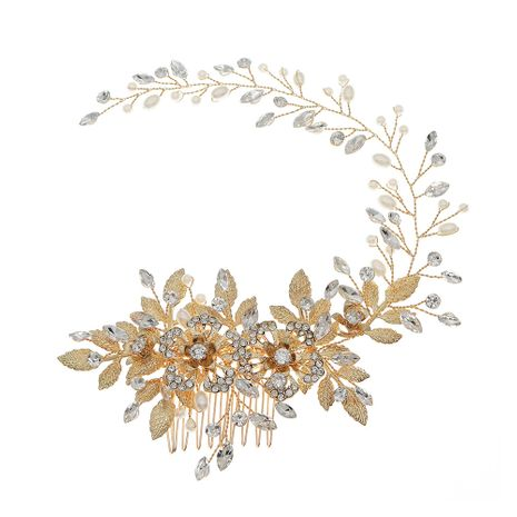 hollow flower pearl hair comb vintage golden long handmade hair band comb wholesale NHHS252864's discount tags