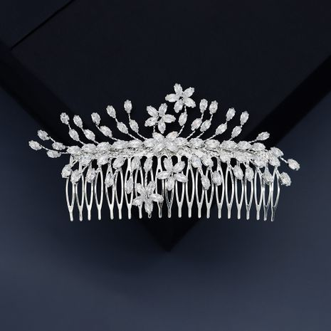 three-dimensional floral leaf zircon hair comb bridal hair insert comb wholesale NHHS252865's discount tags