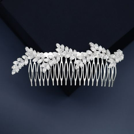 simple olive branch comb zircon plate hair comb  wholesale NHHS252866's discount tags