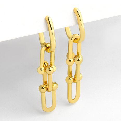 Boucles d'oreilles en cuivre à anneau empilé en forme de U avec chaîne en forme de U pour femmes NHAS252898's discount tags
