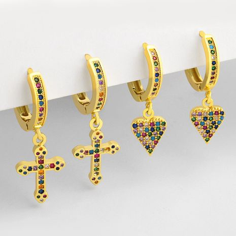 hot-selling colorful zircon retro cross love copper earrings for women wholesale NHAS252900's discount tags