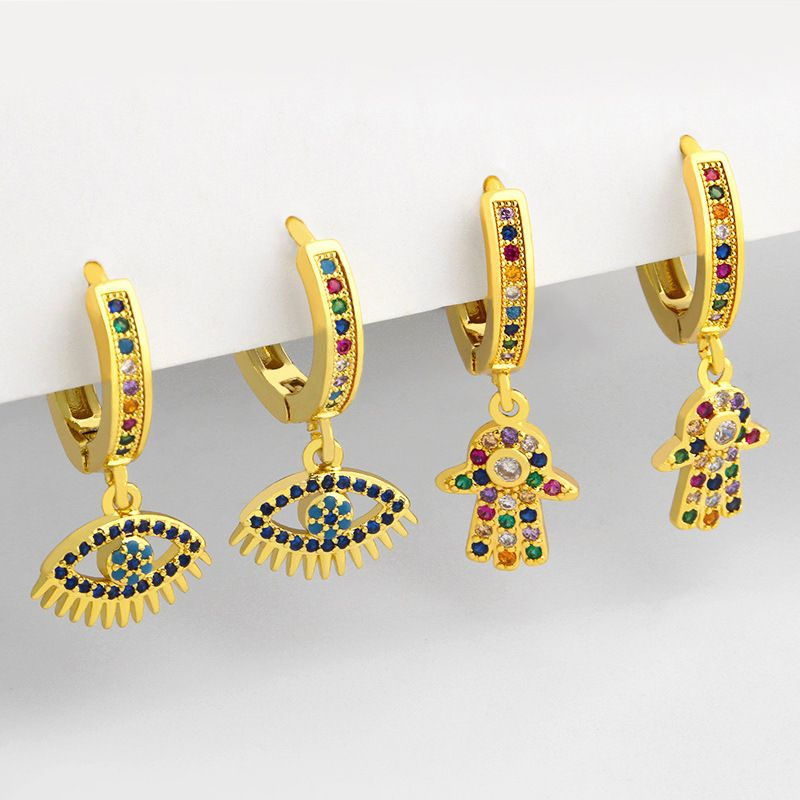 Mode mikroeingelegte Zirkon einfache Teufelsauge Kupfer Ohrringe fr Frauen Schmuck Accessoires NHAS252902