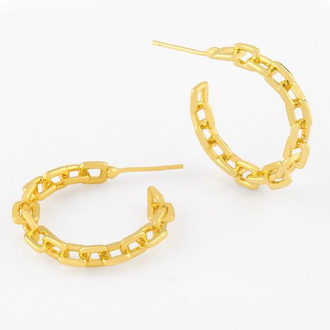 Fashion simple C-shaped chain buckle geometric big fashion retro copper earrings for women NHAS252903's discount tags