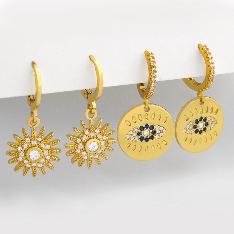 Fashion new sun flower inlaid zircon copper earrings for women wholesale NHAS252905