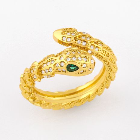 creative snake-shaped ring micro-inlaid zircon open ring wholesale  NHAS252906's discount tags