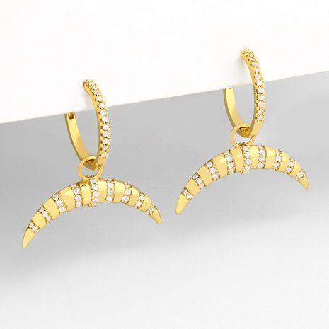 nouvelle mode rétro croissant de diamant rayé géométrique boucles d'oreilles en cuivre pour les femmes NHAS252908's discount tags