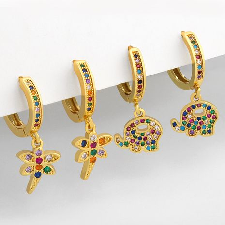 new cute elephant real gold plated fashion insect dragonfly copper earrings  NHAS252909's discount tags