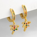 new cute elephant real gold plated fashion insect dragonfly copper earrings  NHAS252909