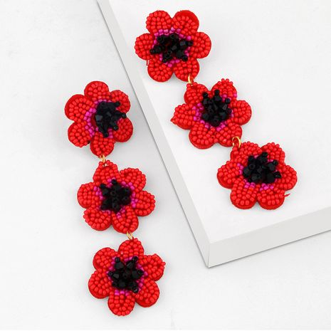 Fashion niche rice beads flower handmade beaded long earrings for women NHAS252910's discount tags