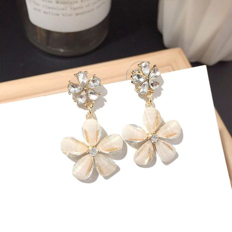 Korean new silver needle flower earrings wholesale NHFT252924's discount tags