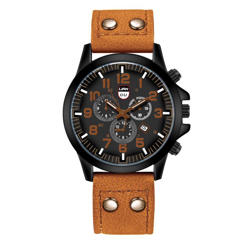 men's watch fashion frosted belt watch three-eye calendar sports watch wholesale NHSS252929