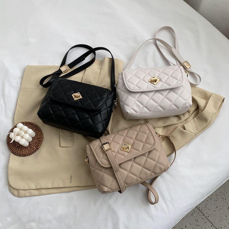Summer new Korean fashion solid color casual diamond chain lock shoulder messenger bag wholesale NHLH252937