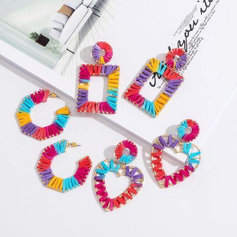 Boucles d'oreilles en alliage de raphia d'été en forme de C pour les femmes en gros NHAI252945's discount tags
