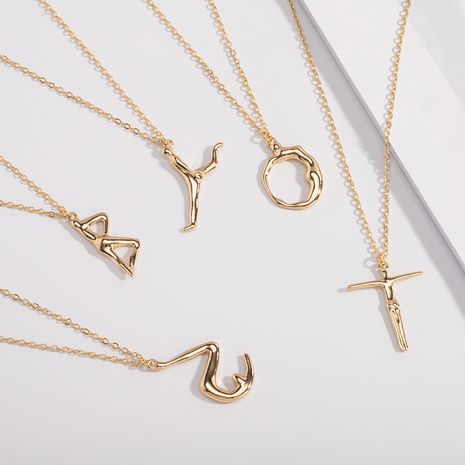 Fashion letter necklace personality exaggerated human body sweater chain necklace NHAI252947's discount tags