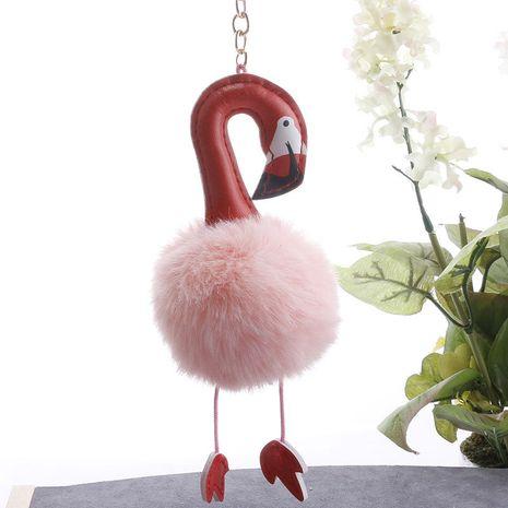 Porte-clés en peluche de voiture de boule de fourrure de flamant rose de mode PU gros NHDI252953's discount tags