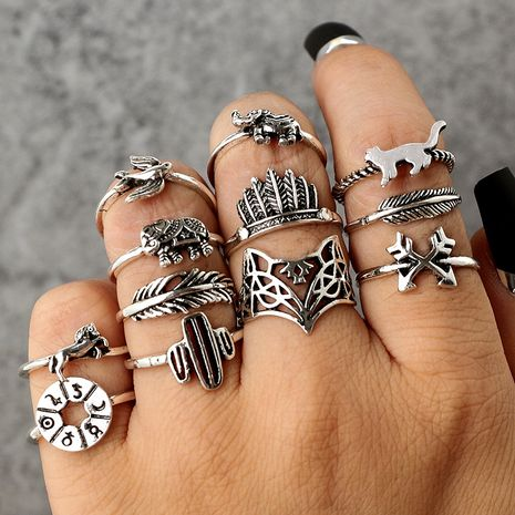 New fashion retro alloy leaf fox elephant 12-piece set rings for women NHGY252954's discount tags