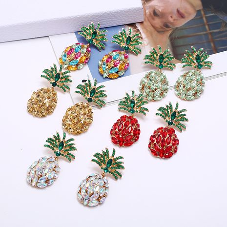 fashion creative fruit pineapple inlaid colorful diamond  earrings wholesale NHLN252958's discount tags