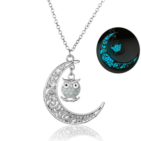 Fashionable Luminous DIY Pendant  Moon Owl Luminous Necklace NHAN252961's discount tags