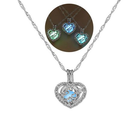 Hot selling  luminous hollow MOM letter peach heart pendant DIY necklace  NHAN252966's discount tags